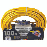 Power Zone ORP511735 Cord Ext 14/3sjtow X 100ft Yel