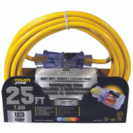 Power Zone ORP511825 Cord Ext 12/3 Sjtow X 25Ft Yel
