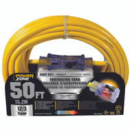 Power Zone ORP511830 Cord Ext 12/3 Sjtow X 50Ft Yel