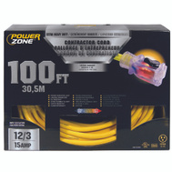 Power Zone ORP511835 Cord Ext 12/3Sjtow X 100Ft Yel