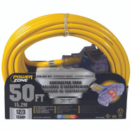 Power Zone ORP611830 Cord Ext 3Tap Lt 12/3X50ft Yel