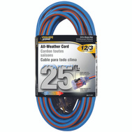 Power Zone ORC530825 Cord Ext 12/3x25ft Blu/Org Stp