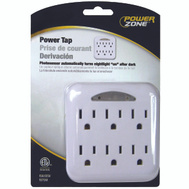 Power Zone OR801105 Tap 6 Outlet Photo Nightlt Wht