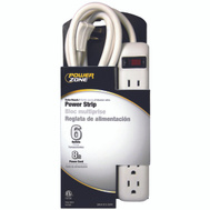 Power Zone OR801115 Strip 6Out Safety 8Ft Cord Wht