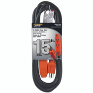 Power Zone OR890715 Cord Wrksp 3Out Blk/Org 15Ft