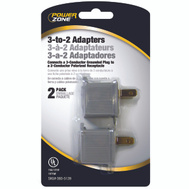 Power Zone ORAD3200 Adapters 2Pk 3 To 2 Grey