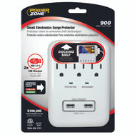 Power Zone PB802112 Surge Protector 3 Outlet White With 2 USB Chargers