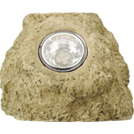 Coleman Cable 91211 Accent Rock Outdoor Solar Light, Rechargeable, White