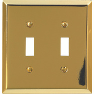 AmerTac 163TTBR Century Toggle Switch Wall Plate 2 Gang Bright Brass