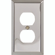 AmerTac 161D Amerelle Traditional Square Corner Duplex Receptacle Wall Plate Chrome