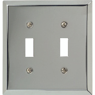 American Tack & Hardware 161TT Traditional Square Corner Double Toggle Wall Plate Chrome