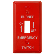 AmerTac C975T Amerelle Red Emergency Oil Burner Switch Plate