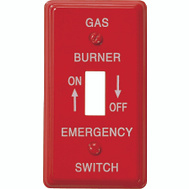 AmerTac C976T Amerelle Red Emergency Gas Burner Switch Plate