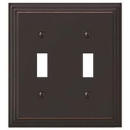 AmerTac 84TTVB Amerelle Cast Metal Toggle Wall Plate 2 Gang Aged Bronze