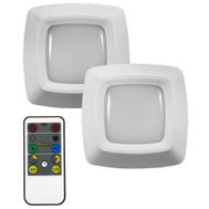 AmerTac LW2205W-N2 Westek Battery Operated Puck Lights LED Remote 2 Pack