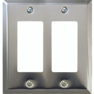 AmerTac 161RR Amerelle Traditional Square Corner Double Rocker Wall Plate Chrome