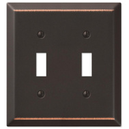 AmerTac 163TTDB Amerelle Century Toggle Switch Wall Plate 2 Gang Aged Bronze