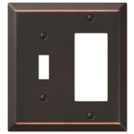 AmerTac 163TRDB Amerelle Century Rocker And Toggle Wall Plate 2 Gang Aged Bronze