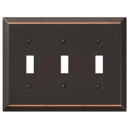 AmerTac 163TTTDB Amerelle Century Toggle Switch Wall Plate 3 Gang Aged Bronze