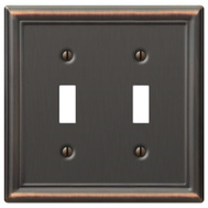 AmerTac 149TTDB Amerelle Chelsea Toggle Wall Plate 2 Gang Aged Bronze