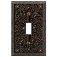 AmerTac 65TDB Amerelle Filigree Toggle Switch Wall Plate 1 Gang Aged Bronze