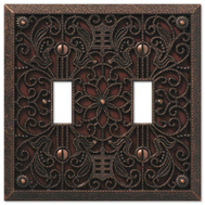 AmerTac 65TTDB Amerelle Filigree Toggle Switch Wall Plate 2 Gang Aged Bronze