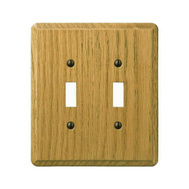 AmerTac 901TTL Amerelle Contemporary Toggle Switch 2 Gang Light Finish Oak Wood