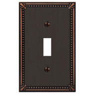 AmerTac 74TDB Amerelle Imperial Bead Cast Metal Toggle Switch Wall Plate 1 Gang Aged Bronze