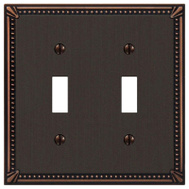 AmerTac 74TTDB Amerelle Imperial Bead Cast Metal Toggle Switch Wall Plate 2 Gang Aged Bronze