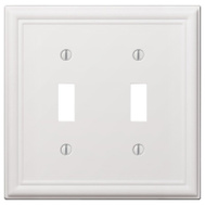 AmerTac 149TTW Amerelle Chelsea Toggle Wall Plate 2 Gang White