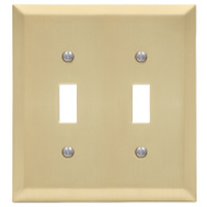 AmerTac 163TTSB Amerelle Century Toggle Switch Wall Plate 2 Gang Satin Brass