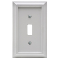 AmerTac 2040TW Amerelle Deerfield Toggle Switch Wall Plate 1 Gang White Wood