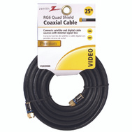 AmerTac VQ302506B Zenith Cable Coax Rg6/F Quad 25 Foot Black