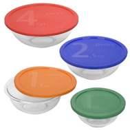 Corelle Brands 1086053 Pyrex 8 Piece Mixing Bowl With Colored Lid Set