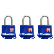 Master Lock 312TRI 1-9/16 Inch Laminated Steel Padlocks With Blue Weather Resistant Cover Pack Of 3
