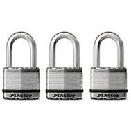 Master Lock M5XTRILHCCSEN Magnum Padlock 2 In Boron Carbide Shackle 3 Pack Keyed Alike