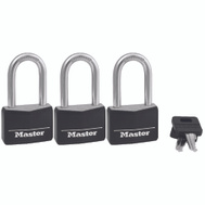 Master Lock 141TRILF 1-9/16 Large Shackle Covered Aluminum 3 Pack