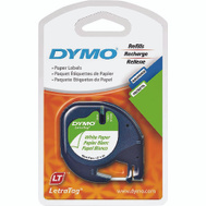 Sanford 10697 Dymo White Plastic Letratag Label Tape