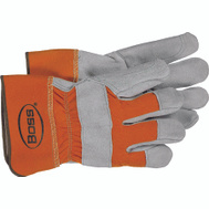 Boss 2393 Safety Orange Double Leather Palm Gloves Large