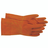 Boss 4708L/1UR07008L Orange Chemical Latex Flock Lined 12 Inch Protective Gloves Large