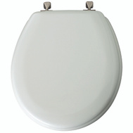 Bemis 44BN000 Round Molded Wood Toilet Seat With Brushed Nickel Hinges White
