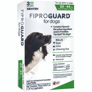 Sergeants 02951 Sentry Fiproguard Flea And Tick Squeeze On For Dogs 23 To 44 Pounds 3 Tubes