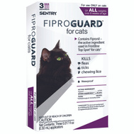Sergeants 02954 Sentry Fiproguard Flea And Tick Squeeze On For Cats And Kittens Over 1-1/2 Pounds 3 Tubes