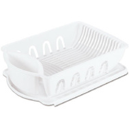 Sterilite 06418006 Large Dish Drainer And Drainboard 2 Piece Sink Set White