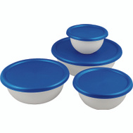 Sterilite 07479406 Bowl Set White With Blue Top 8 Piece