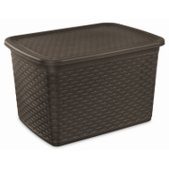 Sterilite 12786P04 Wicker Weave Tote 17 Gallon Espresso