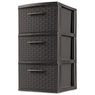 Sterilite 26306P02 Tower 3 Drawer Wicker Weave Expresso
