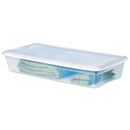 Sterilite 19608006 Underbed Box Storage 41 Quart See Through Base White Lid