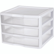 Sterilite 20938003 Organizer 3 Drawer White Wide