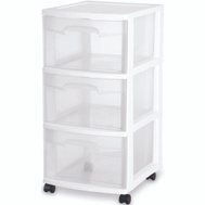 Sterilite 28308002 Cart 3 Drawer Clear And White